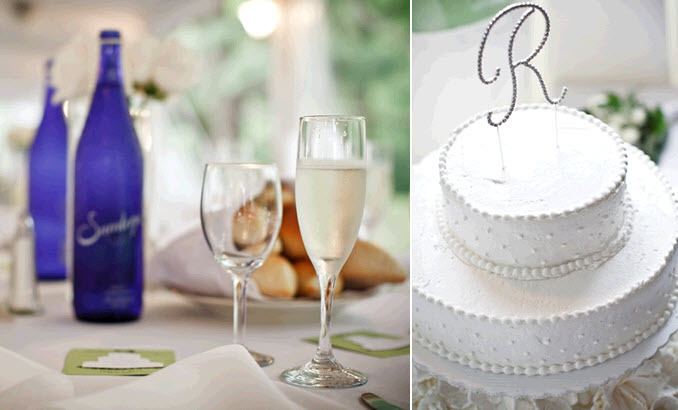 Real-wedding-inspiration-penn-outdoor-wedding-reception-tablescape-something-blue-classic-white-wedding-cake-monogram-cake-topper.full