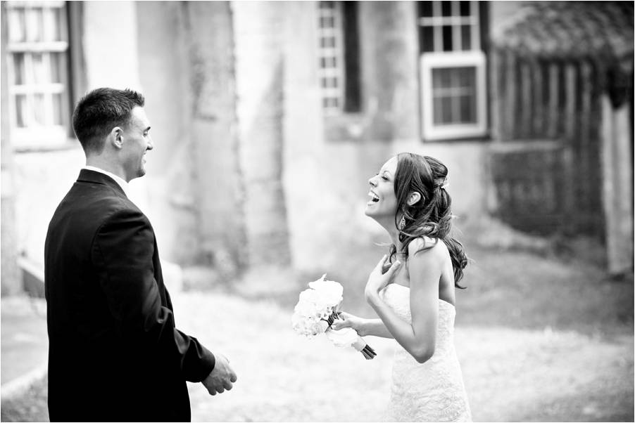 Bride And Groom Have First Look Outside Romantic Castle Wedding Venue