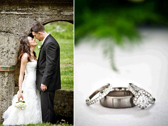 Bride & groom kiss under castle arch; engagement ring and wedding bands photographed together