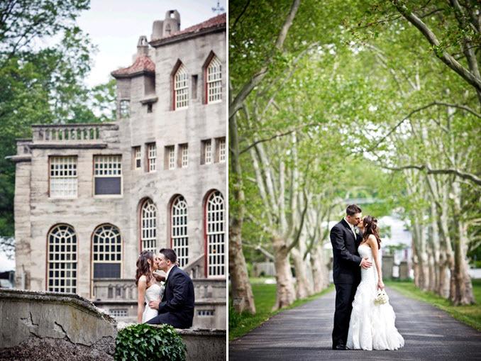 Real-penn-wedding-bride-groom-traditional-black-tux-white-wedding-dress-castle-venue.full