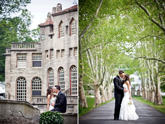 Classic Pennsylvania bride and groom kiss outside their castle venue