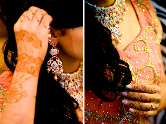 Beautiful Indian bride with traditional henna and ornate bridal jewelry