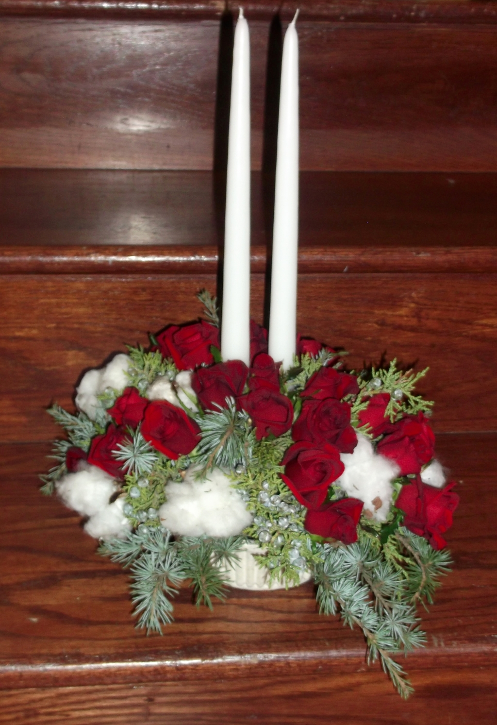 Rose and greens candle centerpiece