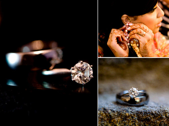 Round diamond engagement ring photo; Indian bride puts on bridal earrings