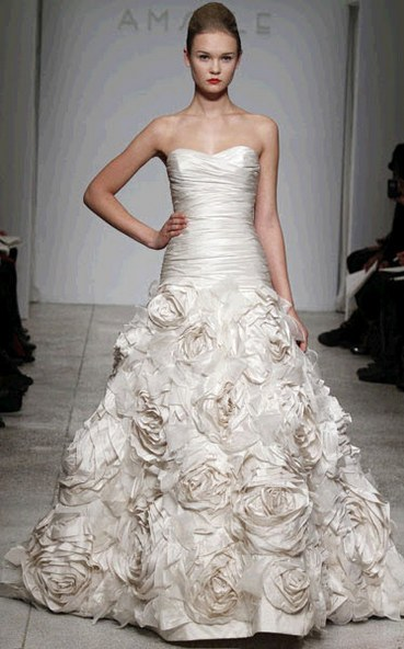 Ivory strapless drop waist wedding dress with hand-pleated floral applique