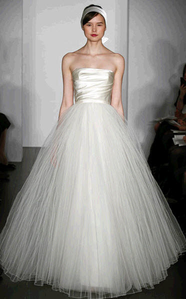 Amsale ivory strapless tulle wedding dress with ruched bodice