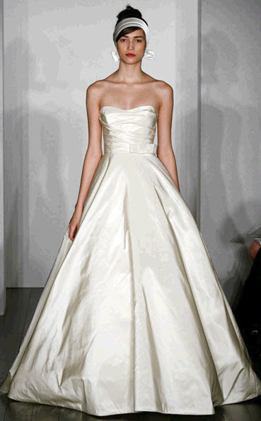 Ivory silk faille strapless Amsale wedding dress with full ballgown silhouette