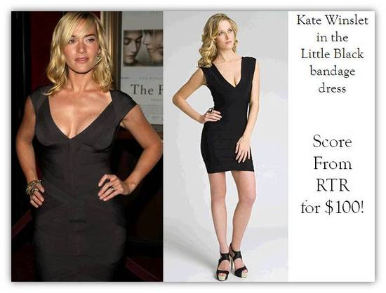 Kate Winslet wears deep v-neck Herve Leger black bandage dress to movie premier