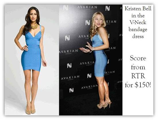 Actress Kristen Bell wearing blue Herve Leger cocktail dress
