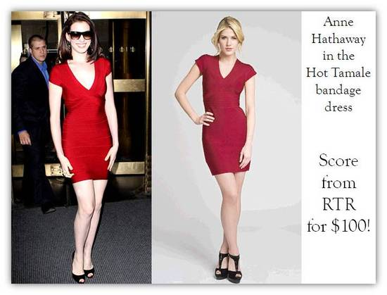 Anne Hathaway wears the Herve Leger Hot Tamale bandage dress, and you can rent this on Rent the Runw
