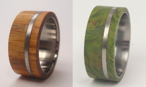 Custom engraved wedding bands made from exotic woods and alternative metals
