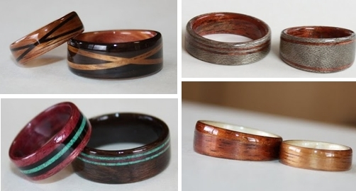 Eco-friendly his and hers wedding bands made from beautiful wood