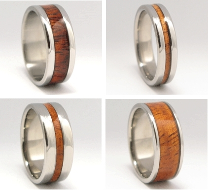 Eco-chic wedding bands made from exotic native Koa, Hawaii wood and titanium