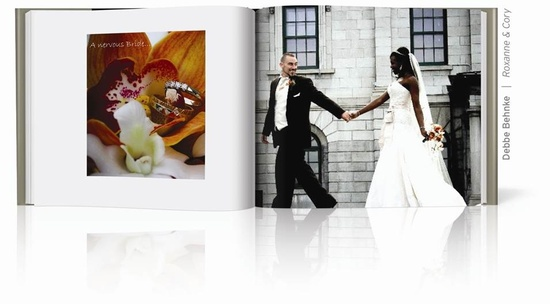 photo of This bride and groom run toward their wedding day in their make your own wedding album from Blurb.