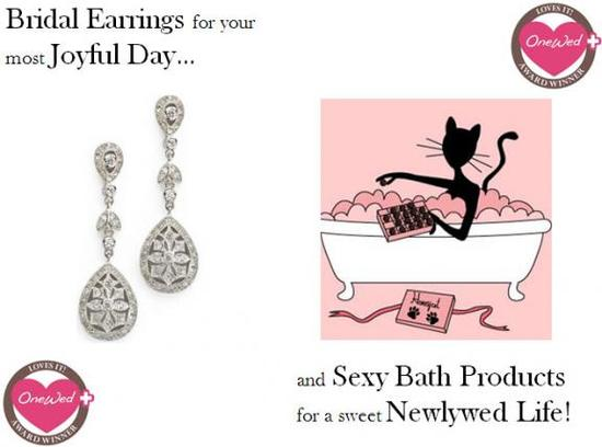 These pave drop bridal earrings and delicious bath products are perfect for your wedding day.