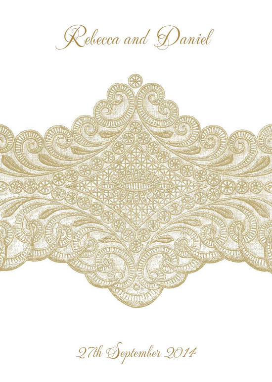 Isabella Lace 5x7 Vertical Flat Invitation in Gold Fusion - DreamDay Invitations
