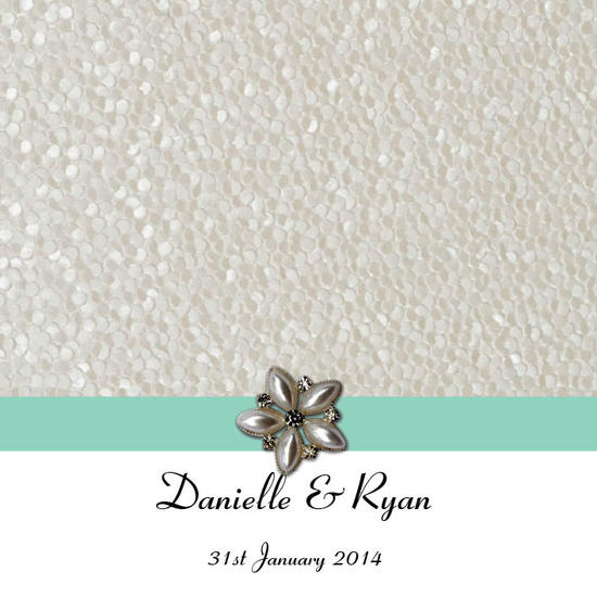 Layered Embossed Pebbles in White Square Vertical Invitation in Tiffany Blue2 - DreamDay Invitations