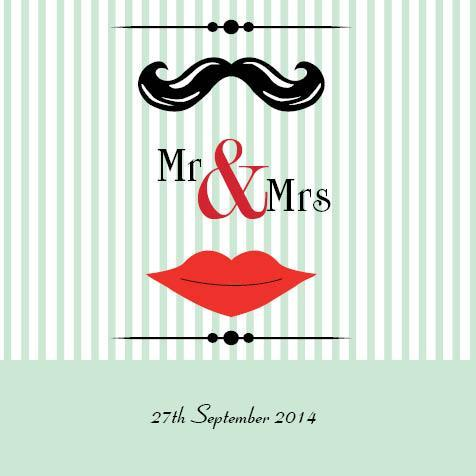Mr and Mrs Stripes Square Invitation and Pocket in Pastel Green - DreamDay Invitations