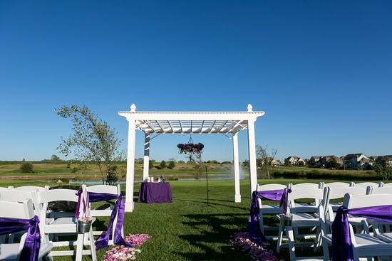 the pergola with a chandelier of flowers!