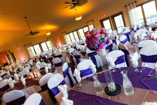 the hydrangea decorations from the wedding serve as centerpieces as well!