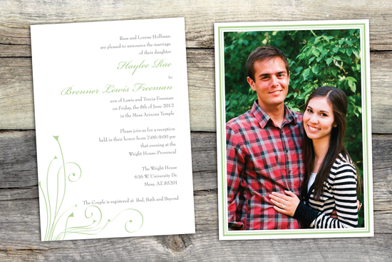 A green and white, Affordable Wedding Invitaiton