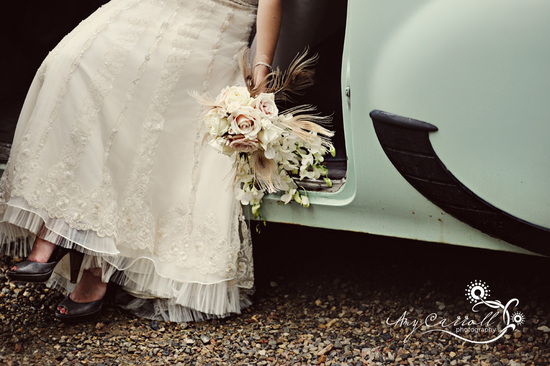 Ivory lace beaded wedding dress, brown peep-toe bridal heels, unique vintage chic bridal bouquet