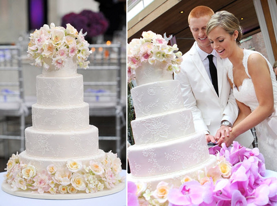 Beautiful 4-tier round wedding cake for Today Show wedding couple