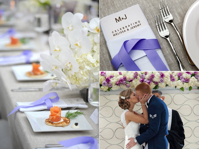 Fresh, modern wedding reception decor- white and periwinkle purple color palette, orchid wedding flo