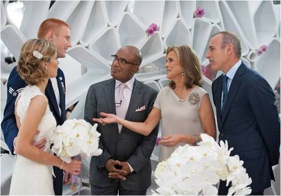 Lucky bride and groom who won the Today Show wedding competition chat with Matt Lauer and other Toda