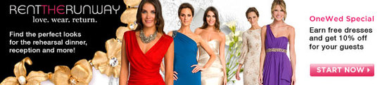 OneWed members get a 10% discount at Rent the Runway where you get designer dresses for a small amou