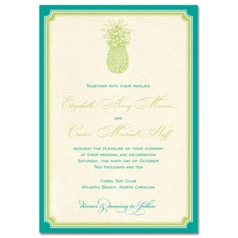 This green and teal wedding invitation features a pineapple for a natural feel.