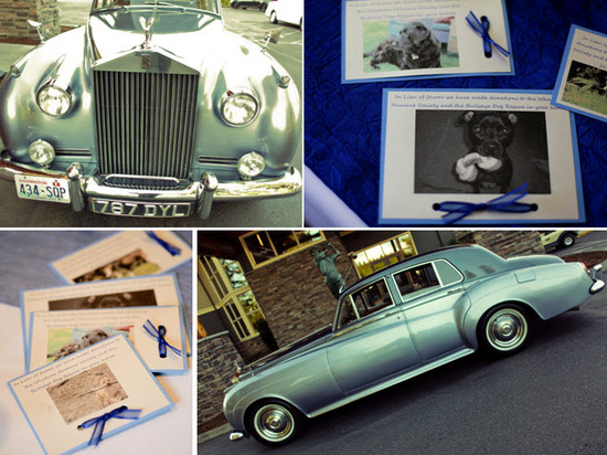 Antique wedding day transportation- a vintage Rolls Royce!