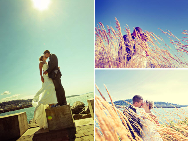 Outdoor-washington-wedding-at-golf-club-venue-bride-groom-kiss-in-open-field-lakeside.full