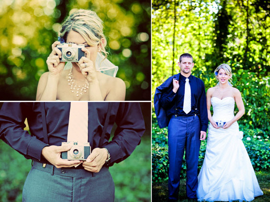 Bride and groom get behind the camera and take pictures of each other
