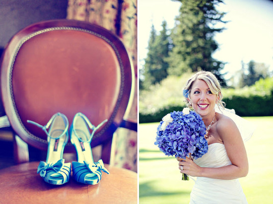 Blue peep-toe satin bridal heels and a bridal bouquet of blue hydrangeas