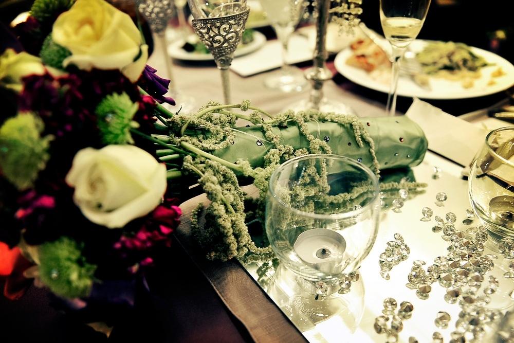 Regal-opulent-wedding-reception-decor-tablescapes-diamonds-table-confetti-ivory-deep-purple-bridal-bouquet.full