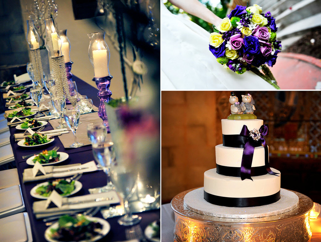 Regal-fairytale-wedding-reception-decor-silver-deep-eggplant-purple-cute-wedding-cake-toppers.full