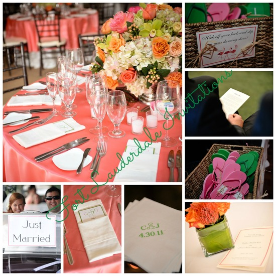 Gorgeous Pink and Green Wedding Suite by Fort Lauderdale Invitations