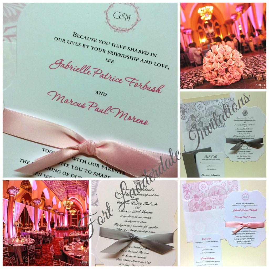 elegant pink and gray wedding invitation suite by fort lauderdale