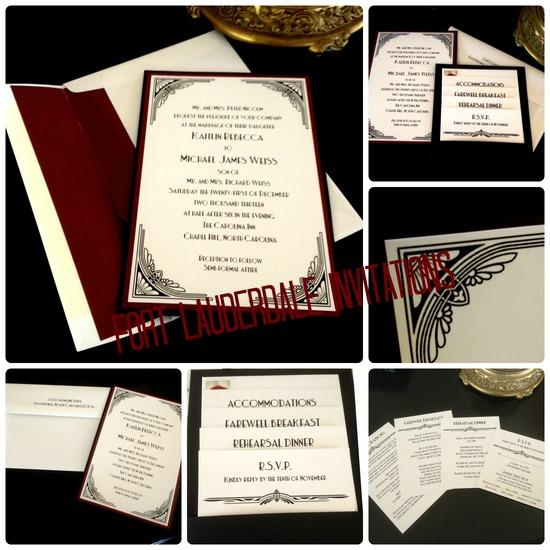 Classic Black and Red Invitation Suite by Fort Lauderdale Invitations