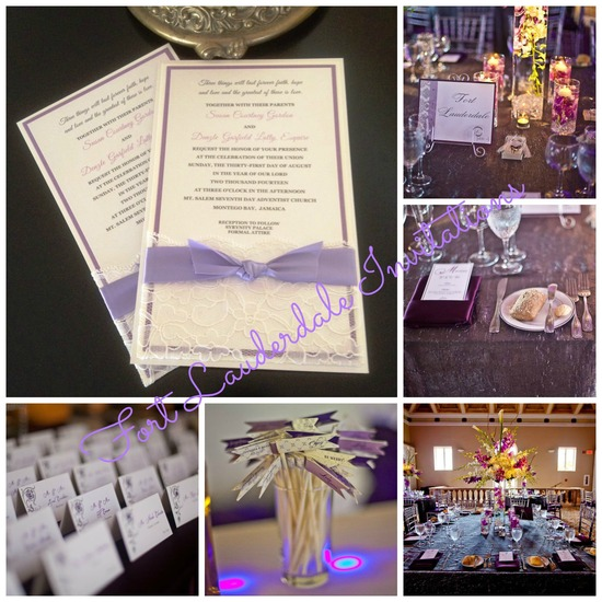 Elegant Purple Lace Wedding Suite by Fort Lauderdale Invitations