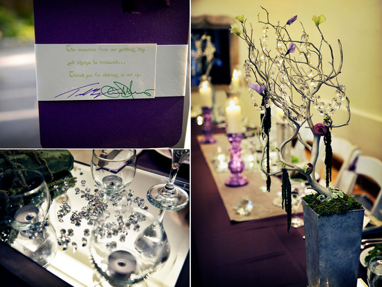 Eggplant purple, ivory, green letterpress wedding programs; hanging and scattered crystals as weddin