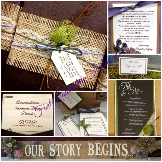 Rustic Burlap, Lace, Moss Invitation Suite by Fort Lauderdale Invitations