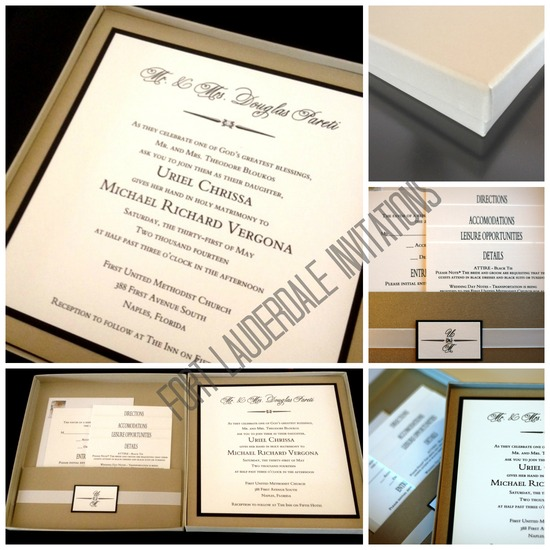 Modern Elegant Black and Gold Boxed Invitation Suite by Fort Lauderdale Invitations