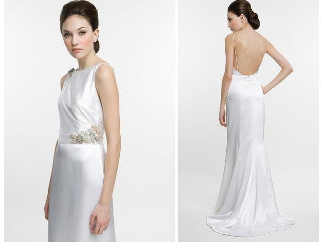 Slinky white charmeuse wedding dress by Amy Kuschel