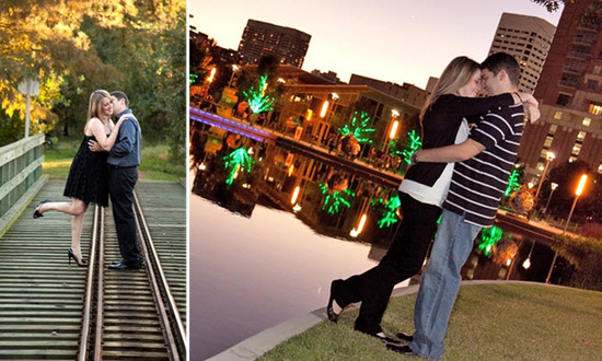 Gorgeous sparkling lake makes the perfect backdrop for this Houston engagement photo session