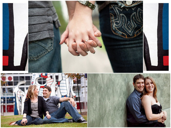 Bride and groom-to-be hold hands during outdoor Houston e-session