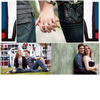 Outdoor-casual-engagement-session-chalkboards-engagement-ring-colorful-art-statues-in-back.square