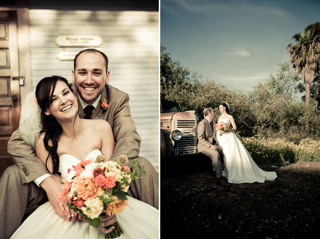 Bride and groom pose outside during sunset after saying i for Outdoor wedding photography poses