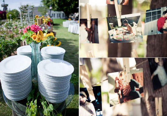 Family style dinner setup at outdoor California wedding
